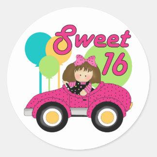 Cumpleaños del dulce 16 pegatina redonda