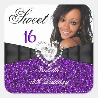 Cumpleaños del dulce 16 púrpuras de la plata del pegatina cuadrada