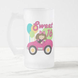 Cumpleaños del dulce 16 taza de cristal