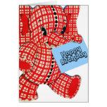 Cumpleaños del elefante de la tela escocesa tarjeta