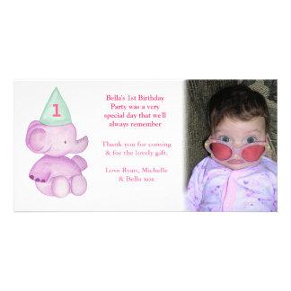 Cumpleaños del elefante del bebé el 1r le agradece tarjetas fotograficas