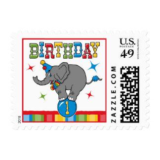 Cumpleaños del elefante del circo 1r estampilla