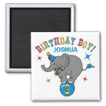 Cumpleaños del elefante del circo 3ro iman de frigorífico