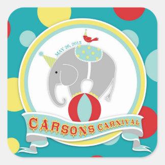 Cumpleaños del elefante del circo pegatina cuadrada