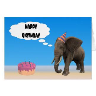 Cumpleaños del elefante tarjeta de felicitación