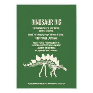 """Cumpleaños del empuje del dinosaurio invitación 5"""" x 7"""""""
