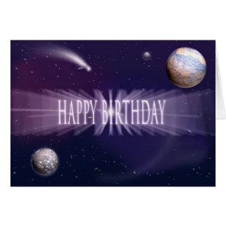 Cumpleaños del espacio tarjetas