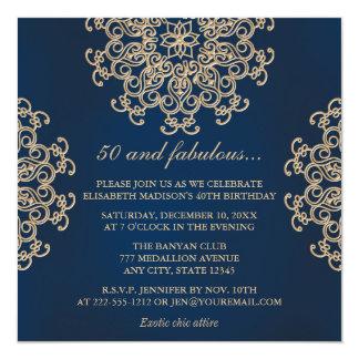 """Cumpleaños del estilo indio de los azules marinos invitación 5.25"""" x 5.25"""""""