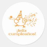 ¡cumpleaños del felíz del ¡! ¡= feliz cumpleaños! pegatina redonda