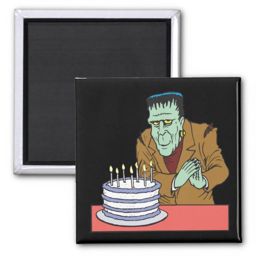 Cumpleaños del feliz Halloween Imán Cuadrado