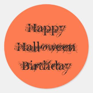 Cumpleaños del feliz Halloween, negro del naranja Pegatina Redonda
