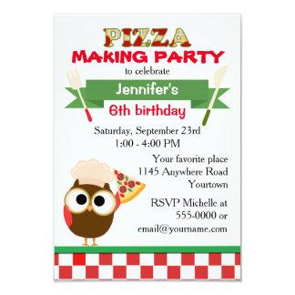 """Cumpleaños del fiesta de la pizza con el búho del invitación 3.5"""" x 5"""""""