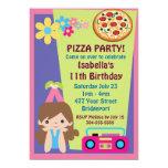 Cumpleaños del fiesta de la pizza del chica comunicado personalizado