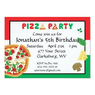 """Cumpleaños del fiesta de la pizza invitación 5"""" x 7"""""""
