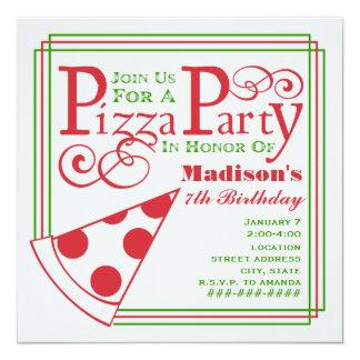 """Cumpleaños del fiesta de la pizza invitación 5.25"""" x 5.25"""""""
