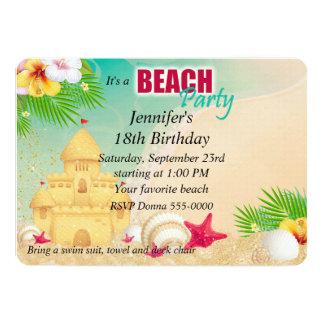 """Cumpleaños del fiesta de la playa del castillo de invitación 5"""" x 7"""""""