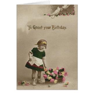 Cumpleaños del florista de 2733 vintages tarjeta de felicitación