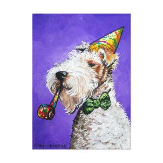 Cumpleaños del fox terrier lona estirada galerías