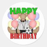 Cumpleaños del fútbol de los niños etiqueta redonda