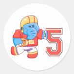 Cumpleaños del fútbol del elefante 5to etiqueta redonda
