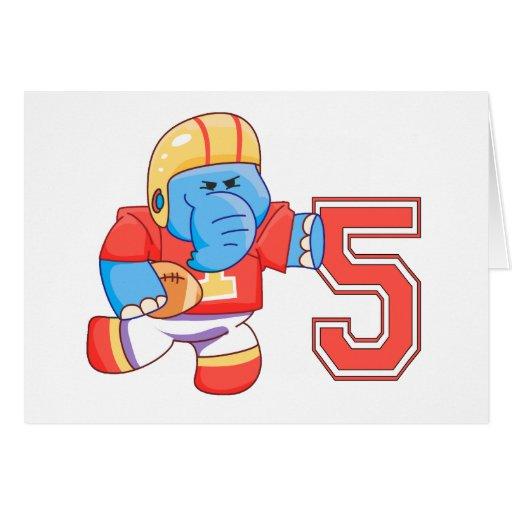 Cumpleaños del fútbol del elefante 5to tarjeta pequeña