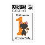 Cumpleaños del gatito de Halloween 1r Franqueo