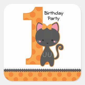 Cumpleaños del gatito de Halloween 1r Pegatinas Cuadradas