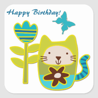 Cumpleaños del gato del gatito pegatina cuadrada