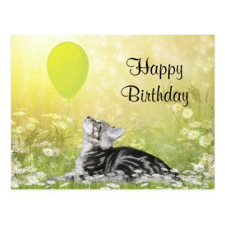 Cumpleaños del gato del gatito tarjeta postal