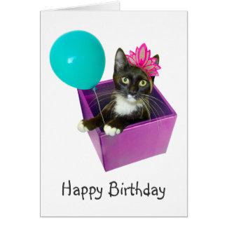 Cumpleaños del gato del smoking tarjeta de felicitación