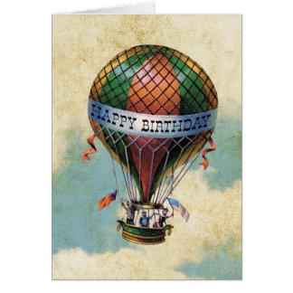 Cumpleaños del globo colorido del aire caliente tarjeta de felicitación