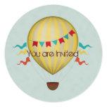 Cumpleaños del globo del aire caliente invitación 13,3 cm x 13,3cm