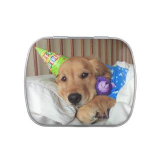 Cumpleaños del golden retriever latas de dulces