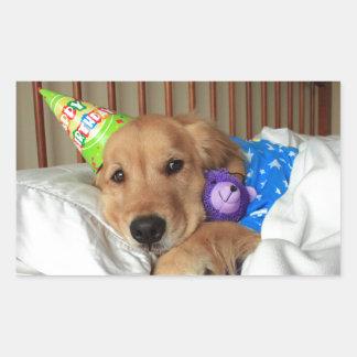 Cumpleaños del golden retriever pegatina rectangular
