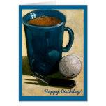 Cumpleaños del golfista: Pintura de la pelota de g Tarjeta
