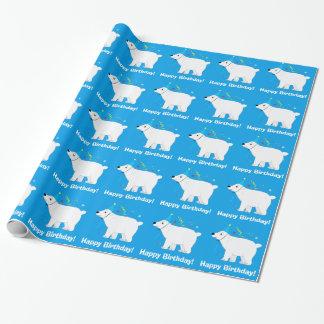 Cumpleaños del gorra del cumpleaños del oso polar papel de regalo