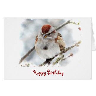Cumpleaños del gorrión de árbol tarjeta de felicitación