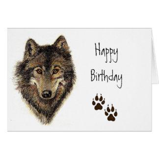 Cumpleaños del grupo, lobo, naturaleza animal de l tarjeta de felicitación
