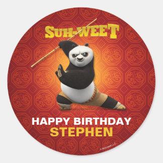 Cumpleaños del guerrero de la panda el   Po de Pegatina Redonda