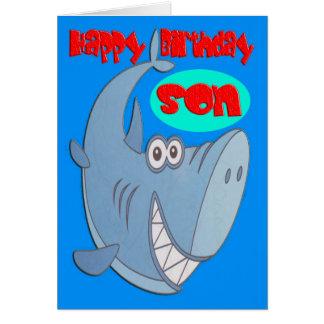 Cumpleaños del hijo del tiburón azul tarjeta de felicitación