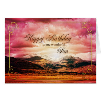Cumpleaños del hijo puesta del sol sobre las mont felicitaciones