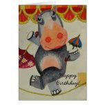 Cumpleaños del hipopótamo del vintage felicitacion