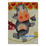 Cumpleaños del hipopótamo del vintage felicitaciones