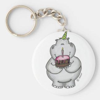 Cumpleaños del hipopótamo - feliz cumpleaños llavero redondo tipo pin
