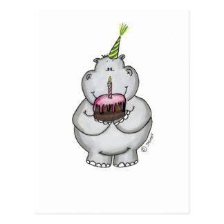 Cumpleaños del hipopótamo - feliz cumpleaños tarjetas postales