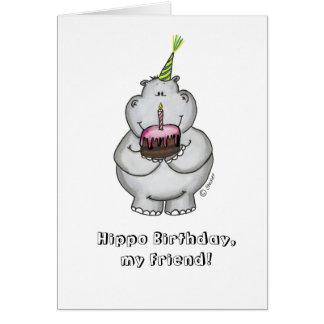 Cumpleaños del hipopótamo mi amigo - feliz cumplea tarjeta de felicitación