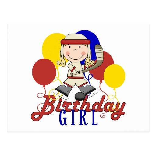Cumpleaños del hockey de los chicas postal