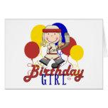 Cumpleaños del hockey de los chicas tarjetón