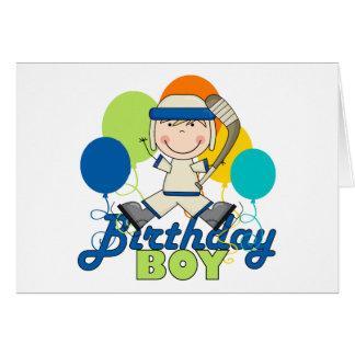 Cumpleaños del hockey de los muchachos tarjeta de felicitación