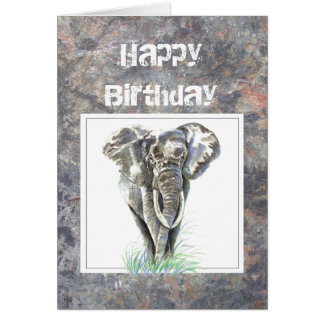 Cumpleaños del humor, masculino, elefante, chico d tarjeta de felicitación